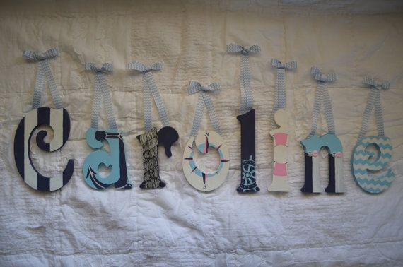 nautical sailboat custom painted wood hanging baby name letters for nursery or childs room sweet aspen pinterest sailboats nautical and children