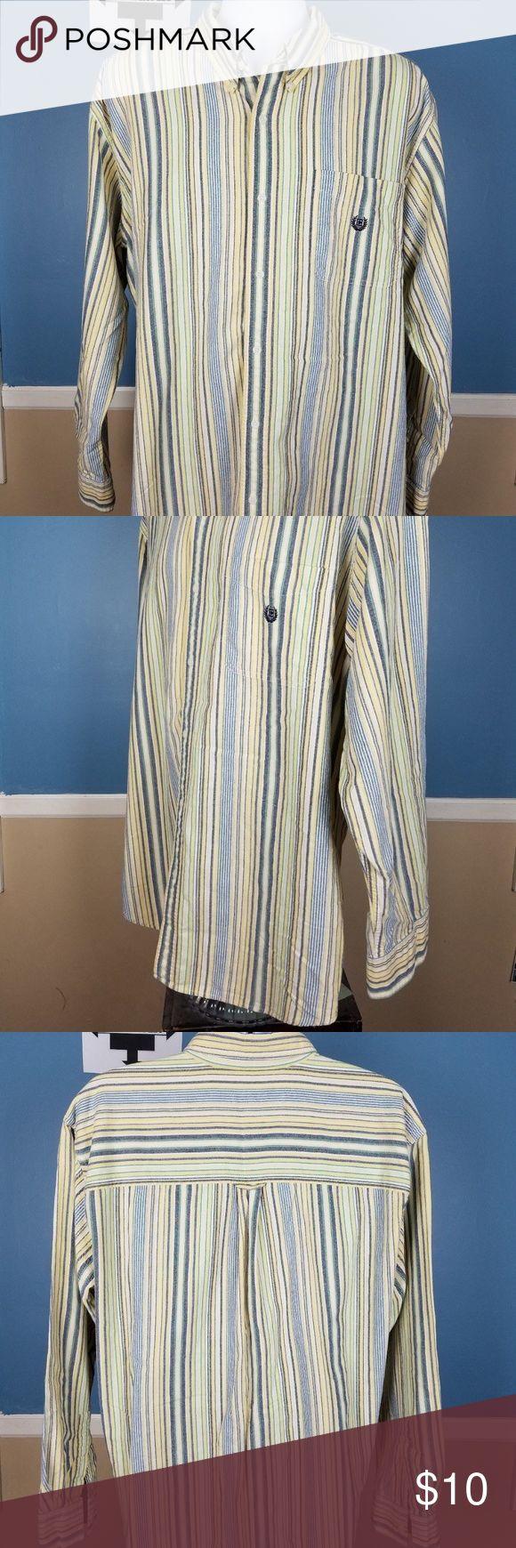 Mens CHAPS Dress Shirt Long Sleeve XL Strip Button Mens CHAPS Dress Shirt Long Sleeve XL Strip Button Down Yellow Casual C5 Chaps Shirts Casual Button Down Shirts