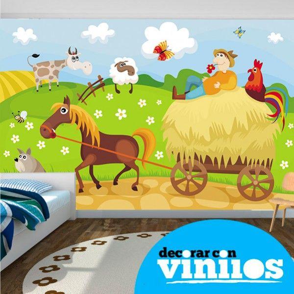 Fotomural Infantil: Carreta en la Granja http://www.decorarconvinilos.com/fotomural_infantil