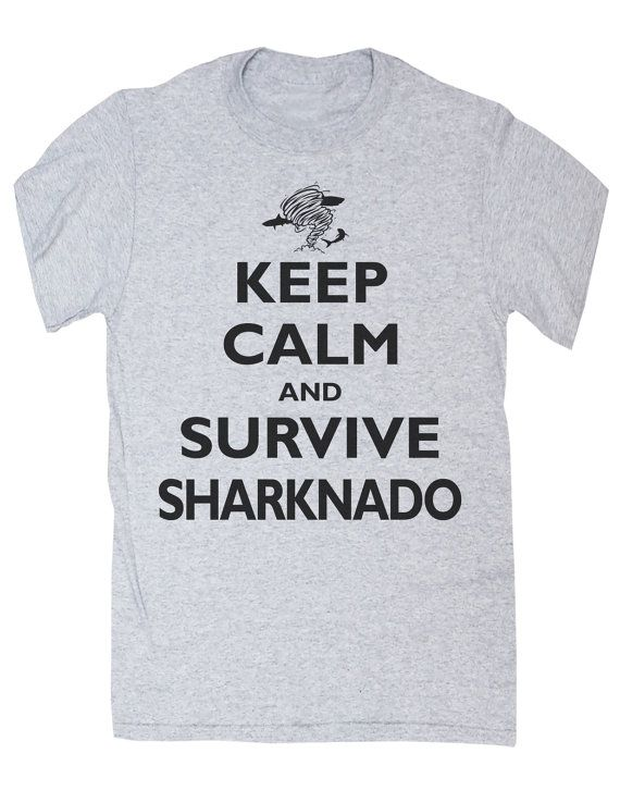 Keep Calm and Survice Sharknado Ash Grey Shark T by SwaggeNation, $14.99