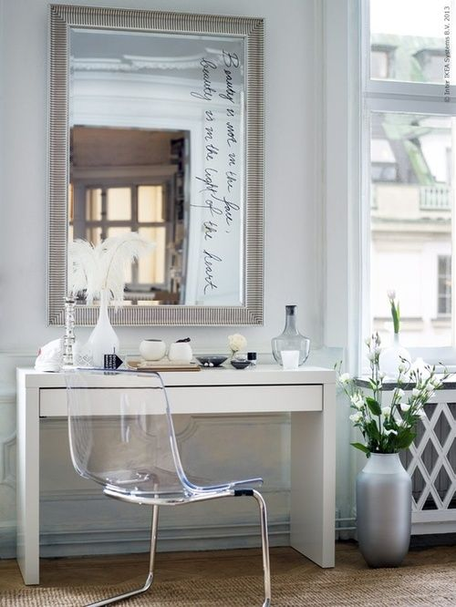 Writing on mirror and love the ghost chair