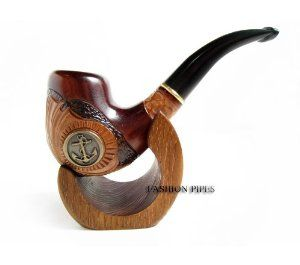 New Gift Set Tobacco Pipe & Stand, ANCHOR METAL Smoking Pipe Carved Pear Root Wood + Stand Gift! - The Best Price Offer !!!: Smoking Pipe Gifts
