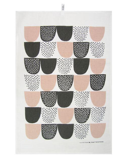 pattern: Modern Art, Prints Patterns, Kitchens Towels, Sokeri Teas, Teas Towels, Black White, Scandinavian Patterns, Pink Kitchens, Colors Schemes