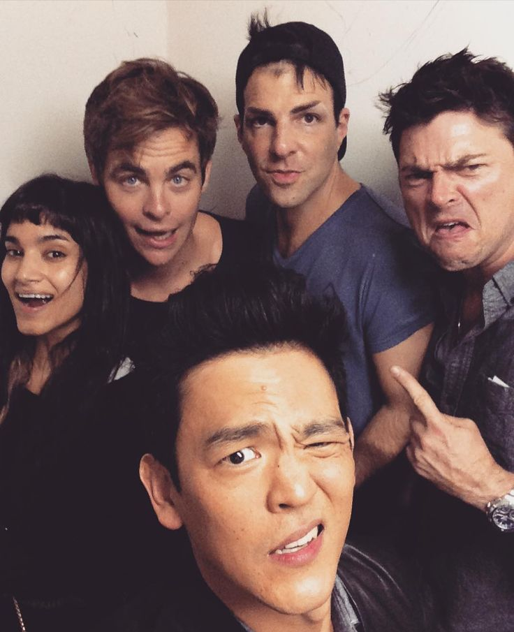Sofia Boutella (Jaylah) Chris Pine (Kirk) Zachary Quinto (Spock) Karl Urban (Bones) John Cho (Sulu). But where's Simon Pegg(Scotty) and Anton Yelchin(Chekov)?