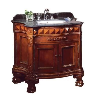 Ove Decors Buckingham 36 In Vanity In Dark Cherry With Granite Vanity Top In Black Dark Home