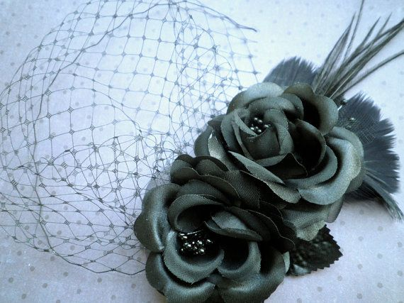 Bridesmaids fascinator action!  feather, Fascinator, Head Piece, Feather Hair PIece, Wedding, Hair Accessories, Black, birdcage veil, Hair Facinator - PRETTY BLACK