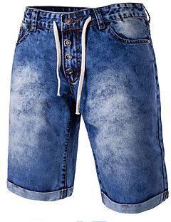 Hombre Delgado Vaqueros Shorts Pantalones,Bloque de Color Casual/Diario Playa Sencillo Tiro Medio Cremallera Botón Algodón Poliéster