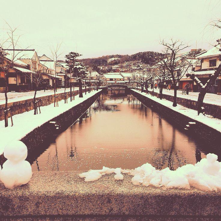 有鄰庵近く 美観地区の雪