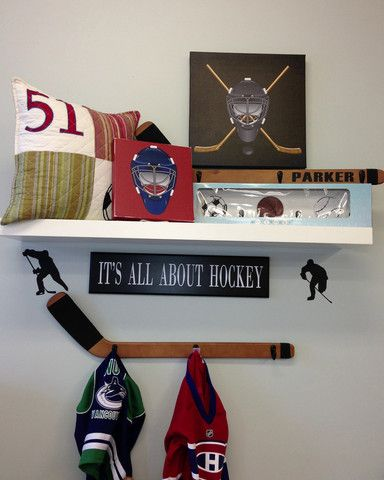 Hockey Stick Wall hook and It's All About Hockey boys room decor set