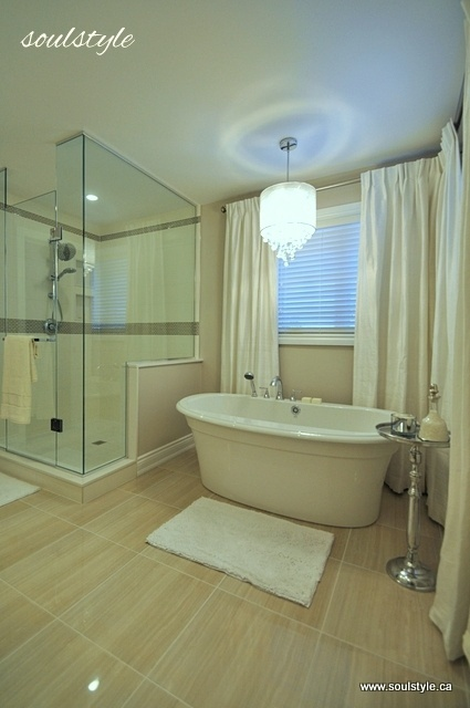Elegant Neutral Bathroom Renovation. Love the curtains around the tub. I hate the floor but otherwise love it.
