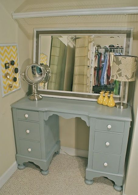 repurposed old desk turned into vanity.. another fabolous GoodWill find - Click image to find more DIY & Crafts Pinterest pins
