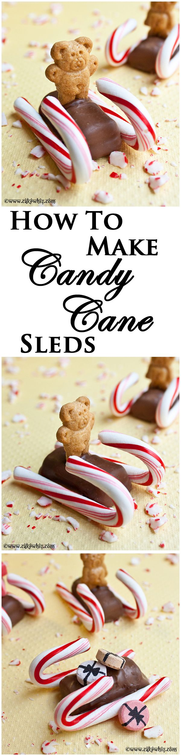 Learn to make these cute and easy CANDY CANE SLEDS carrying little teddy graham biscuits or candy gift packages! From cakewhiz.com