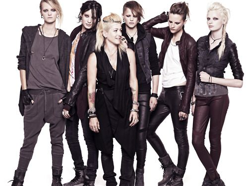 Trish Summerville, costume designer of 'The Girl With the Dragon Tattoo', surrounded by models wearing her range for H&M