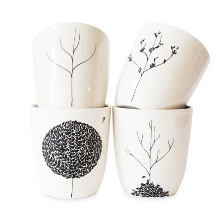 Four seasons mugs. Would be easy to do with Sharpie (and then bake).