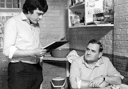 Richard Beckinsale and Ronnie Barker as Lennie Godber and Norman Stanley Fletcher. Porridge
