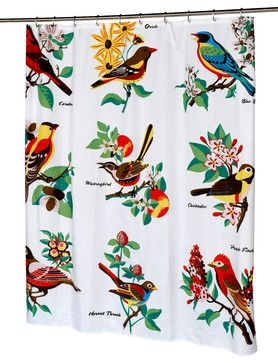 """Audubon"" Fabric Shower Curtain traditional-shower-curtains"