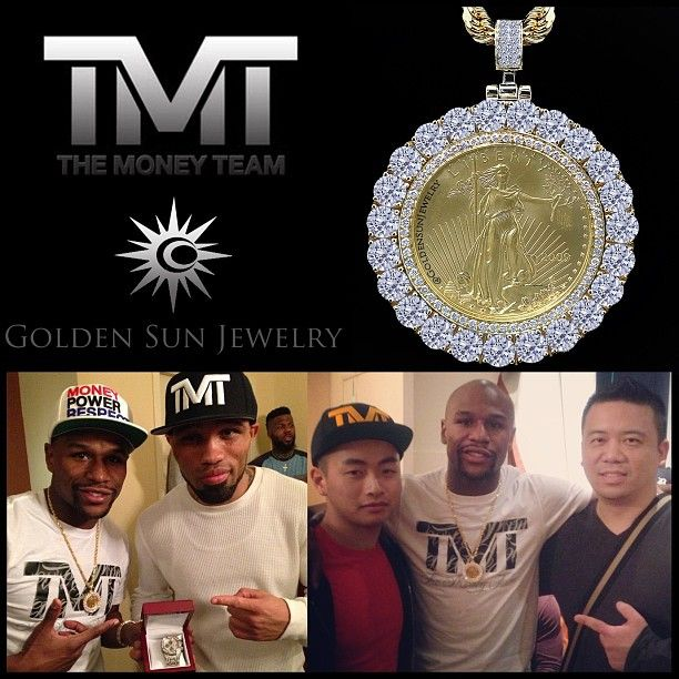 GOLDEN SUN JEWELRY: One ounce gold Lady Liberty coin pendant done for THE CHAMP, Floyd Mayweather Jr. featuring 3/4 carat EACH round diamonds. Keeping it simple with a touch of old school with the accenting rope chain. #floydmayweather #tmt #themoneyteam #mayweather #athlete #jewelry #ladyliberty #ounce #coinpendant #oldschool #jewelrygame #pendant #diamonds #boxing #hbo #fight #hiphopnation #worldstarhiphop #detroit #fashion #fashionista #designer