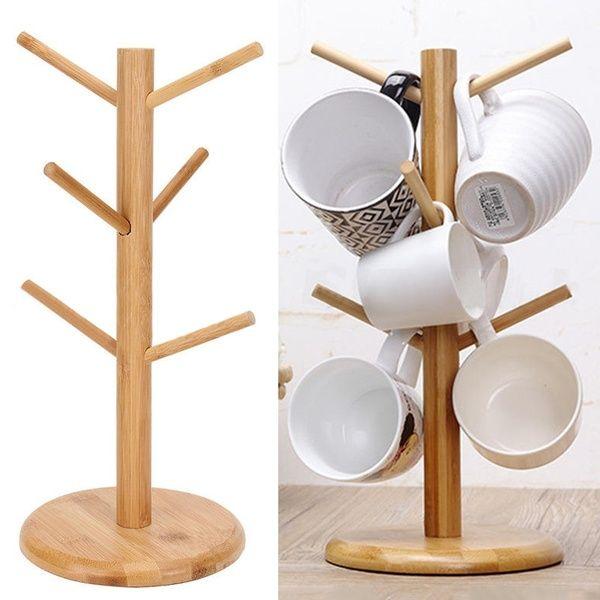 Wood Mug Rack Holder Tree Coffee Cup Storage Stand Office Kitchen Organization Wish Coffee Cup Storage Wood Mug Storage Stand