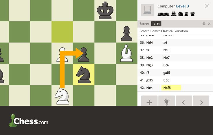 Play chess online against a computer opponent. Set the level from easy to master, and get hints on how to win!