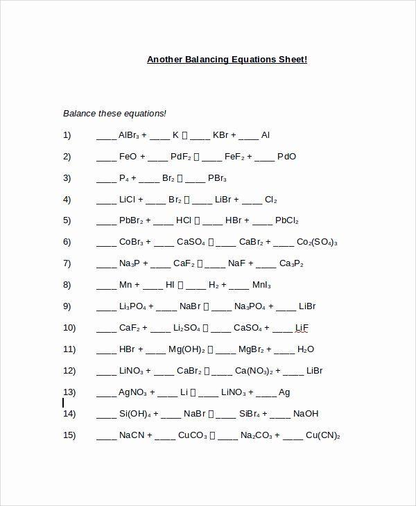 50 Balancing Chemical Equation Worksheet in 2020 ...