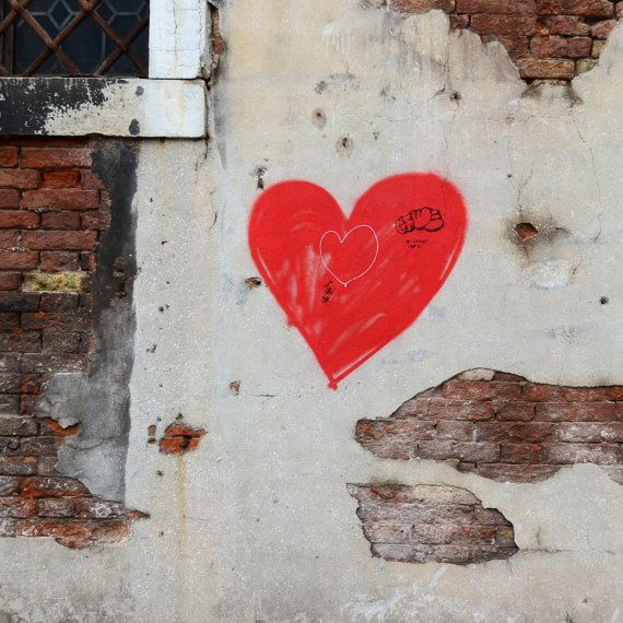 Red Heart Graffiti on Crumbling White and Brown Brick by Tessa Manu Photography