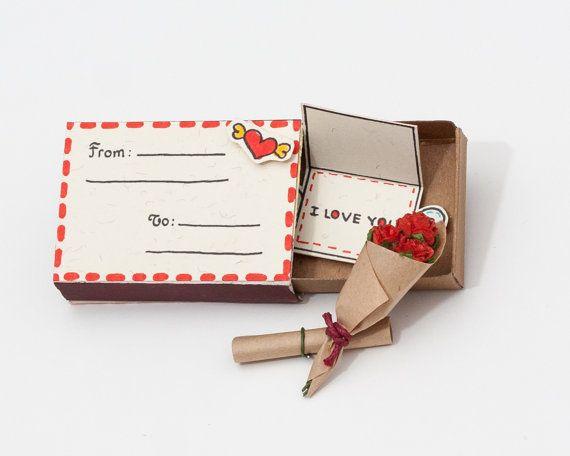 """Valentine Card / Cartão de aniversário bonito / cartão do amor / Eu te amo cartão / Matchbox / cartão 3D / Pop-Card / """"De - A"""" Envelope"""