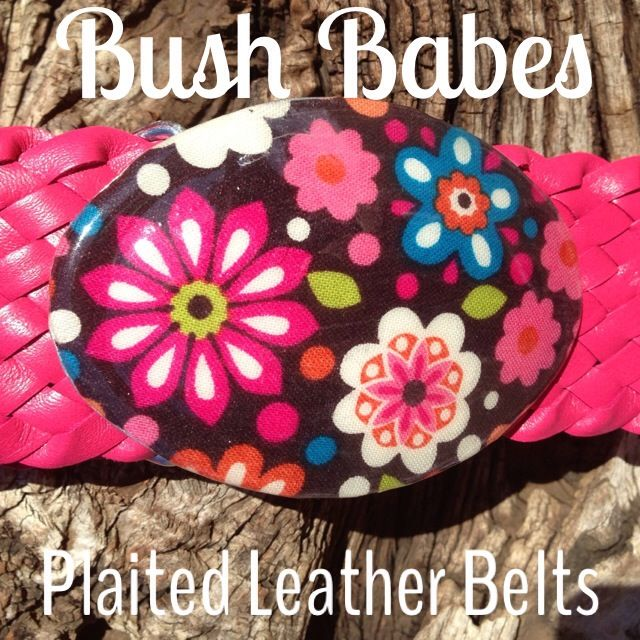 Hot Pink Plaited Leather Belt with a fancy resin buckle.  Any size available. www.bushbabes.com.au www.facebook.com/BushBabes