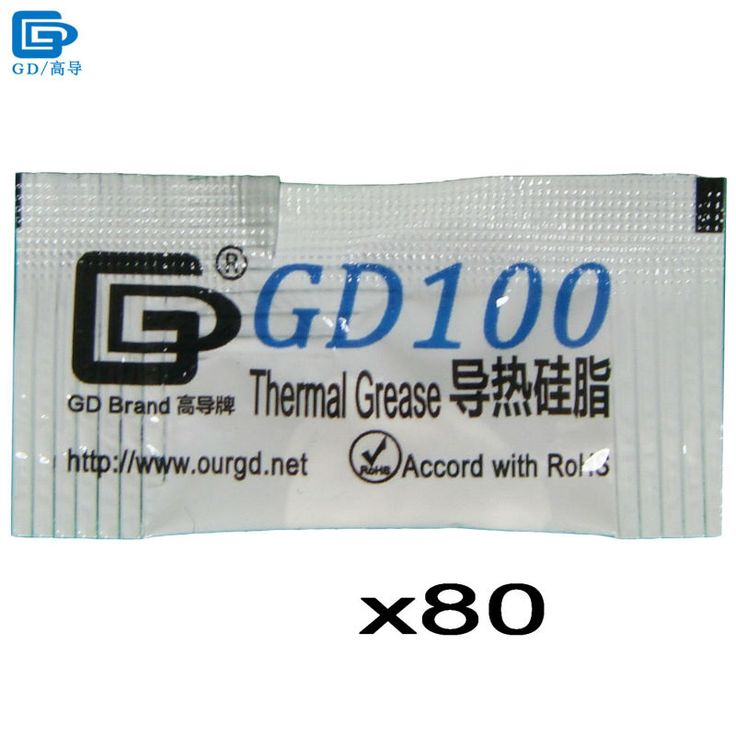 GD100 Thermal Grease Paste Silicone Plaster Heat Sink Compound 80 Pieces Net Weight 0.5 Gram White Mini Bag Packing For CPU MB05