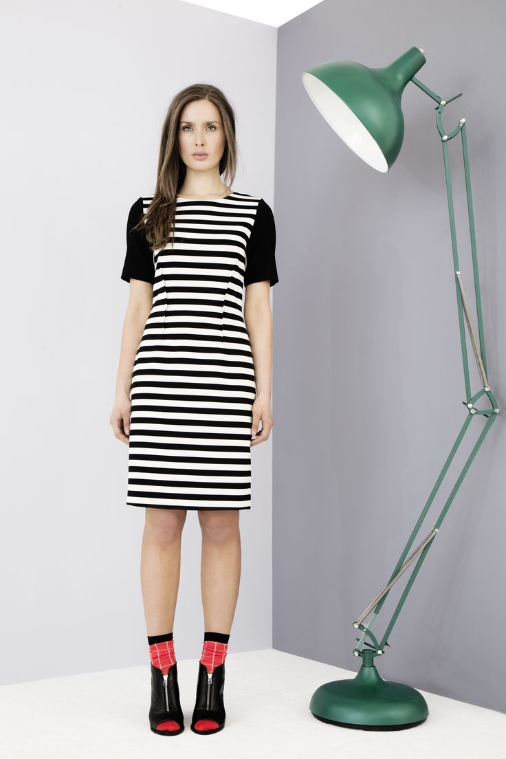 Structured monochrome dress with contrast sleeves by Carolyn Donnelly The Edit
