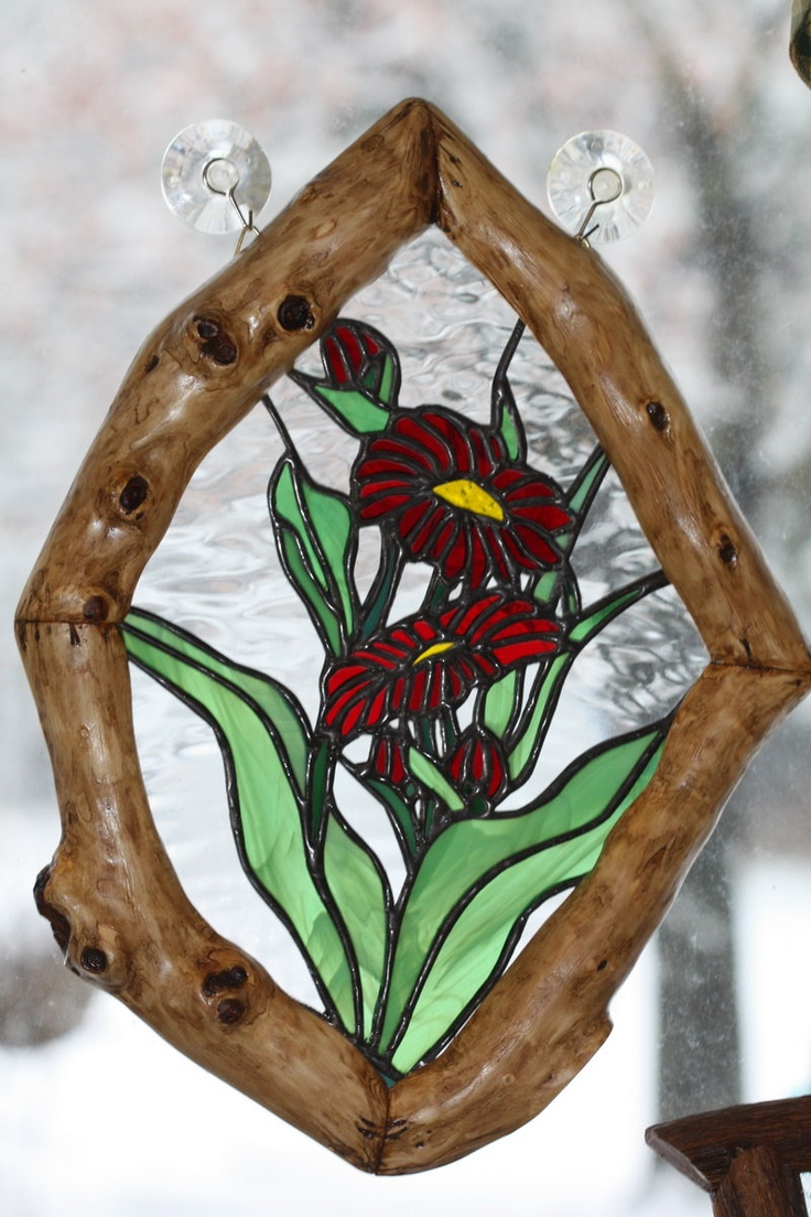 Red Floral Stained Glass Panel with Rustic Knotty Lilac Branch Frame. $49.00, via Etsy.