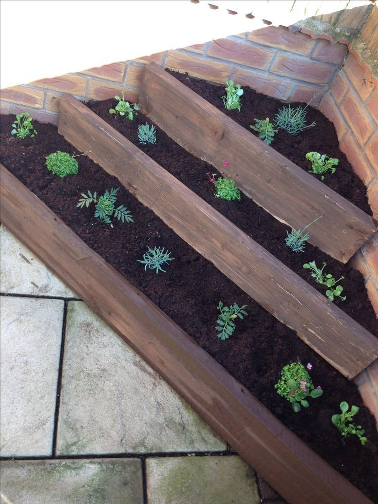 Wood Sleepers Corner Raised Flower Bed Plants Planter Upcycled
