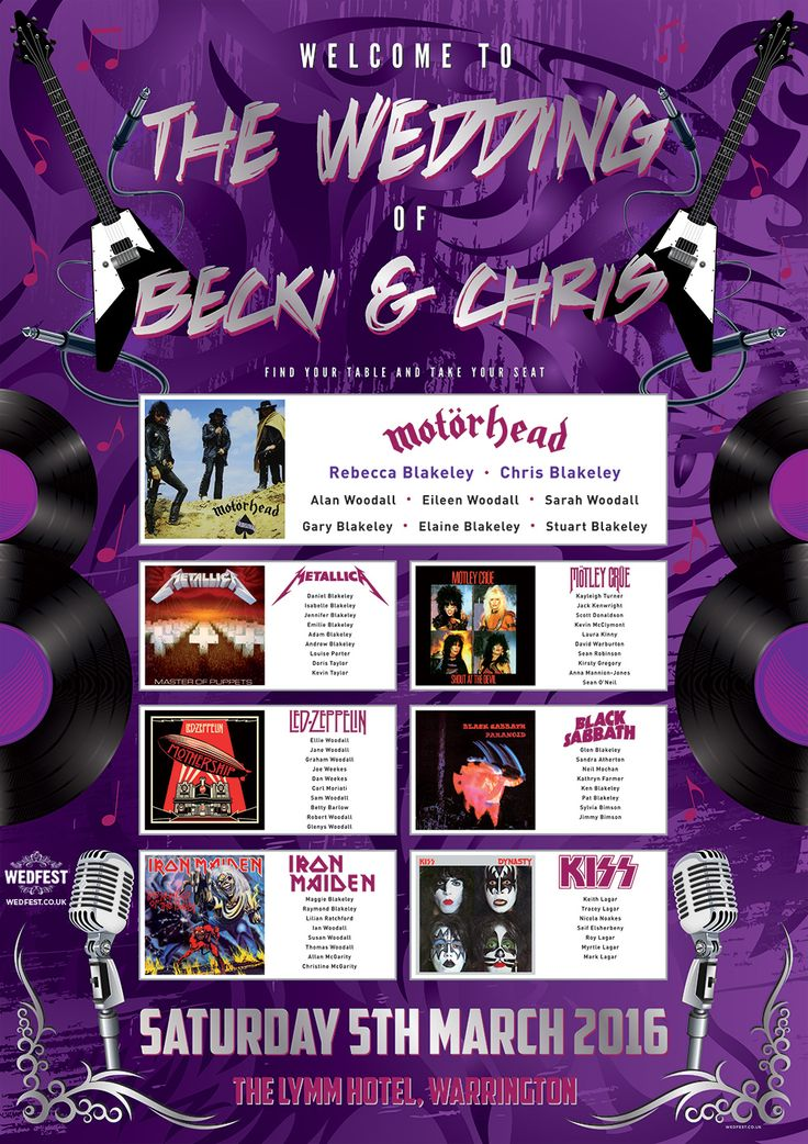 heavy metal wedding stationery table planner http://www.wedfest.co/rock-and-heavy-metal-influenced-wedding-table-plans/