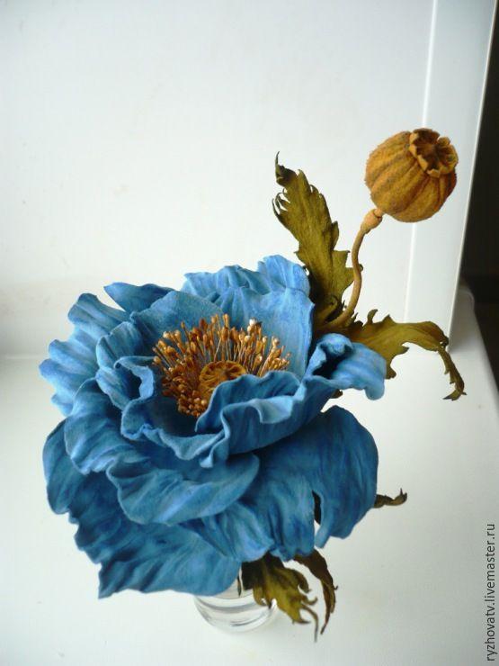 Купить цветы из кожи. брошь-тибетский мак. - брошь-цветок, цветок из кожи, натуральная кожа