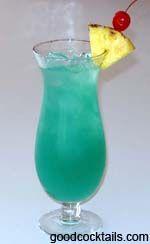Blue Hawaiian:  1 oz. Rum (Light)  1 oz. Coconut Rum  1/2 oz. Blue Curacao  Pineapple Juice