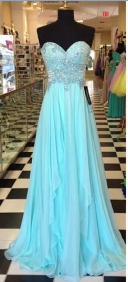 Strapless Long Beaded Chiffon Prom Dress with