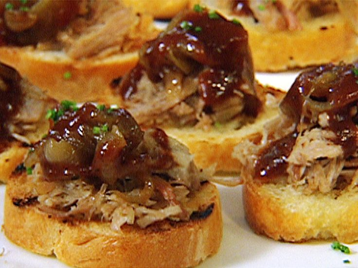 BBQ Pulled Pork Bruschetta Recipe : Patrick and Gina Neely : Food Network - FoodNetwork.com