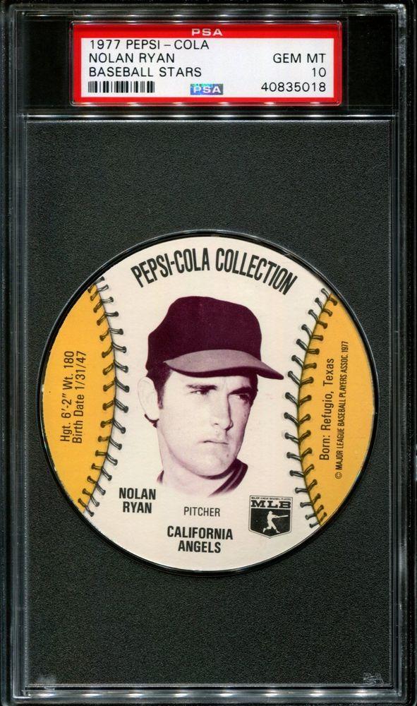 1977 Pepsi Cola Baseball Stars Discs Nolan Ryan Hof Psa 10 B2582042