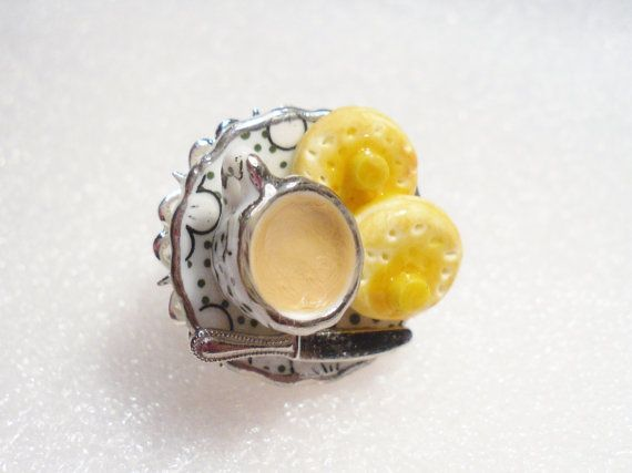 Tea And Crumpets Ring. Polymer Clay. by GiraffesKiss on Etsy