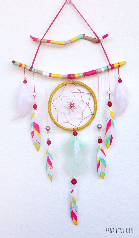 Neon Faerie Painted Driftwood Dream Catcher Mobile, by eenk.etsy.com