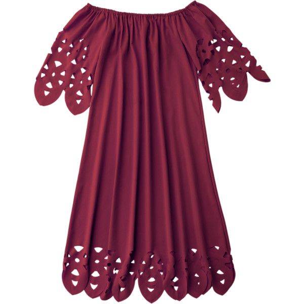 Off The Shoulder Flared Dress Burgundy S ($14) ❤ liked on Polyvore featuring dresses, dresses/rompers, vestidos, flared hem dress, off the shoulder dress, purple dresses, summer dresses and flared dresses