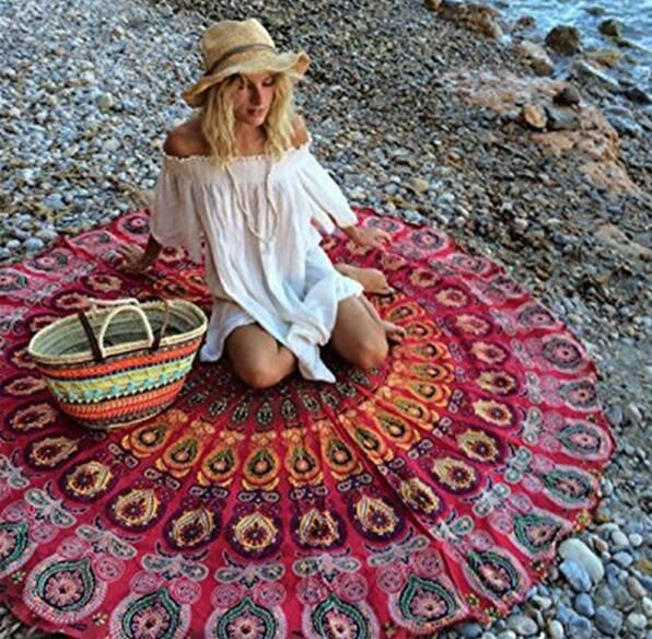 Red Beach Serviette Mandala Indian Swimming Bath Towels Picnic Mat Style Tapestry Wall Hanging Throw Towel FTBST