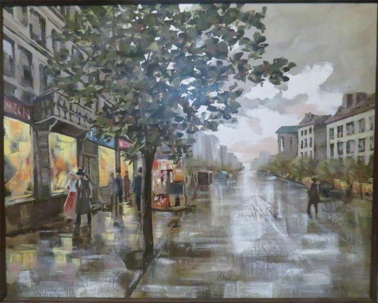 Original Oil Painting Mid Century Cityscape Lee Reynolds