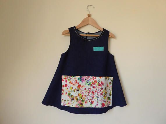 Denim Apron for Girls 7 for carefree play Size 7