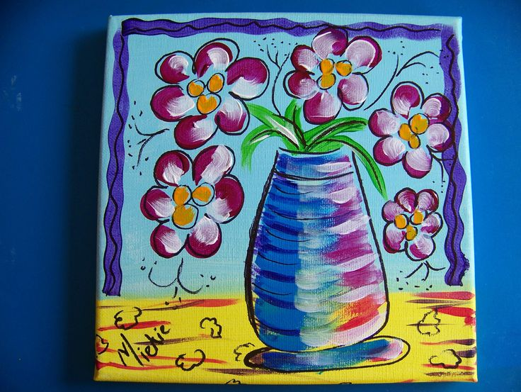 """Vase On Primary Colours. By Miekie. Acrylic & Pen on Canvas. 8"""" x 8""""."""