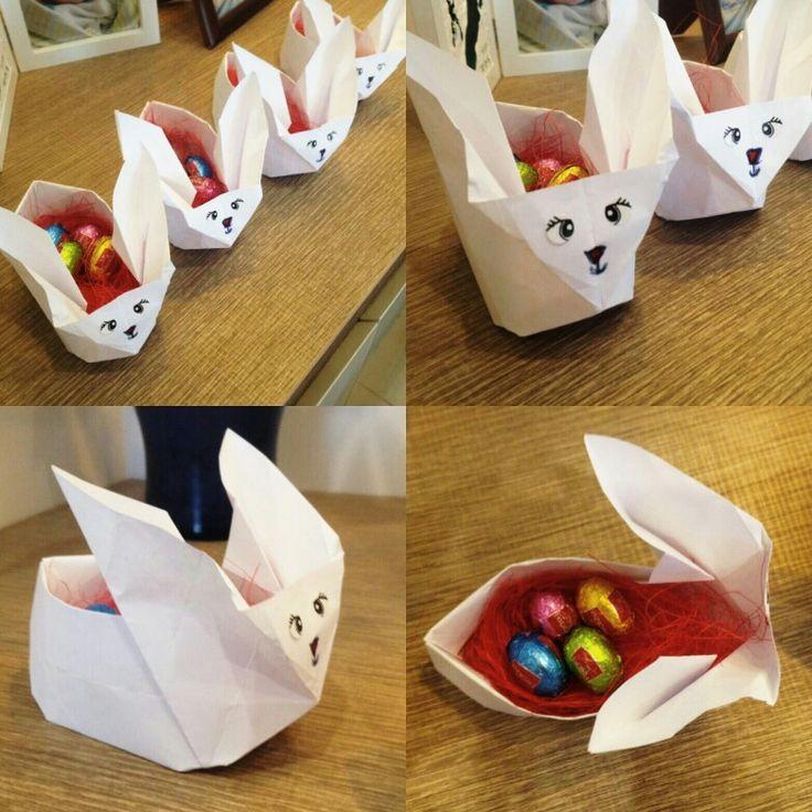 Χάρτινα Πασχαλινά κουνελάκια με σοκολατένια αυγουλάκια μέσα  (Easter)