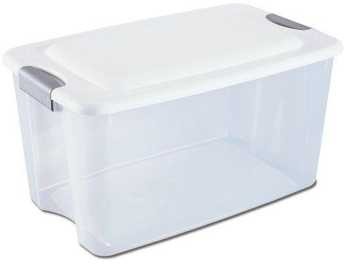 sterilite 70quart ultra storage box seethrough with white lid and titanium