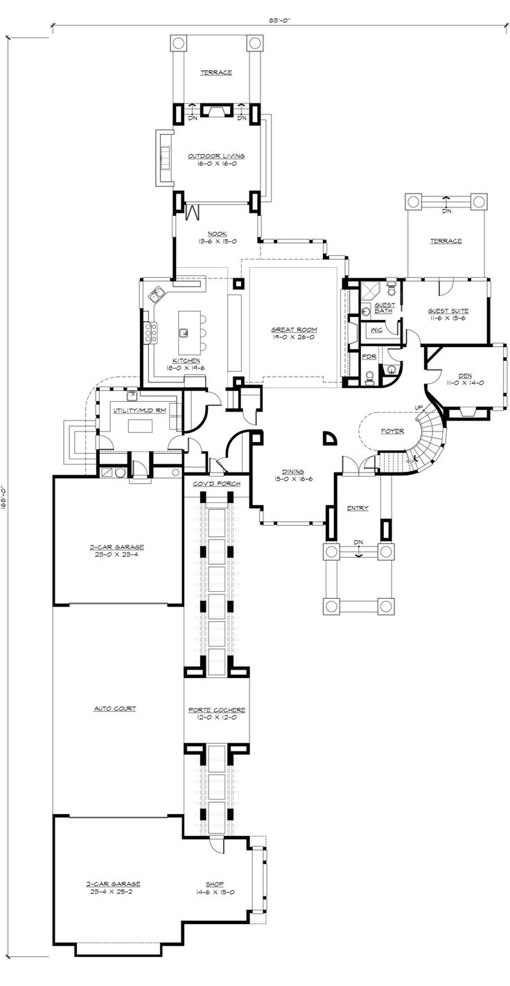 Closing in a carport to make guest suite - 517 Best Images About Floor Plans On Pinterest European House Plans House Plans And Craftsman Style House Plans