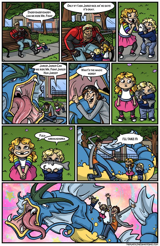 Proper form for riding a sea monster The punchline is machismo Funny Comic