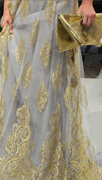 Beautiful gold embroidery with an unusual combination of grey.