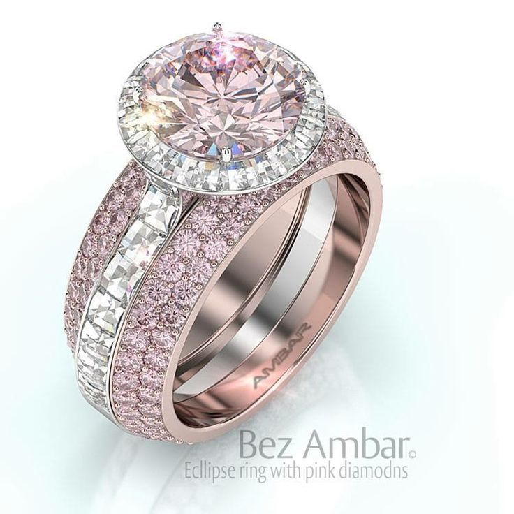 Bez Ambar Ecllipse Ring in Rose gold with white and pink diamonds (=)